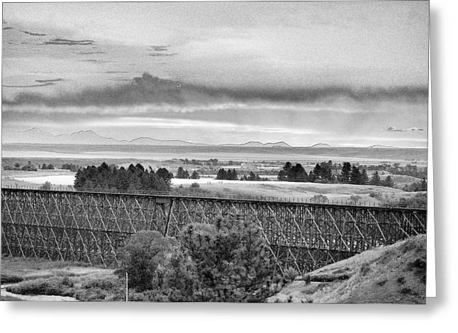 Lewistown Greeting Cards - Lewistown Trestle Black and White Greeting Card by Tommy Ray Fowler