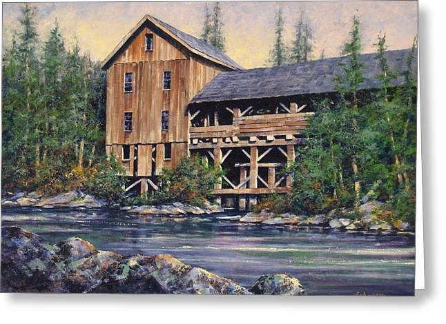 Old Mill Scenes Paintings Greeting Cards - Lewisville Grist Mill Afternoon Greeting Card by Jim Gola