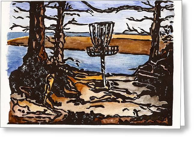Lino Paintings Greeting Cards - Lewisville Lake Hole Three Greeting Card by Jason Reid