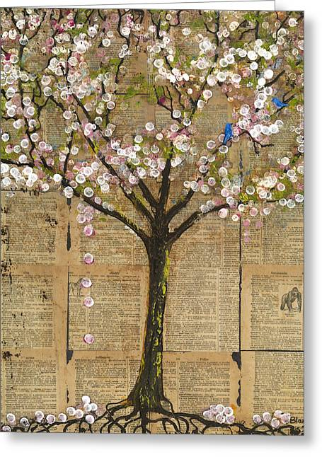 Blossoms Mixed Media Greeting Cards - Lexicon Tree of Life 3 Greeting Card by Blenda Studio