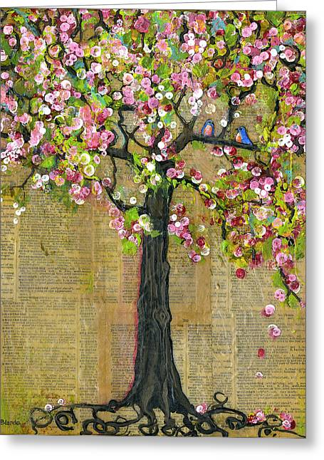 Blossoms Mixed Media Greeting Cards - Lexicon Tree of Life 4 Greeting Card by Blenda Studio