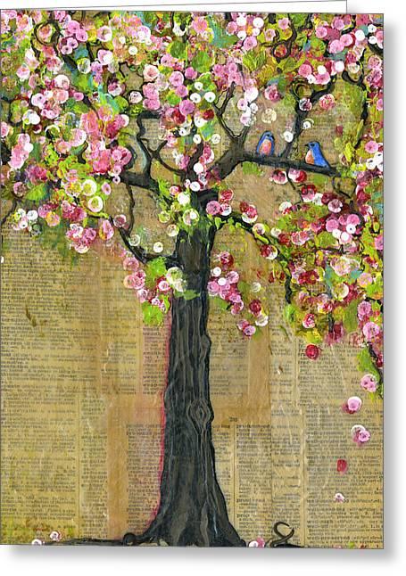 Bird Greeting Cards - Lexicon Tree of Life 4 Verison B Greeting Card by Blenda Studio