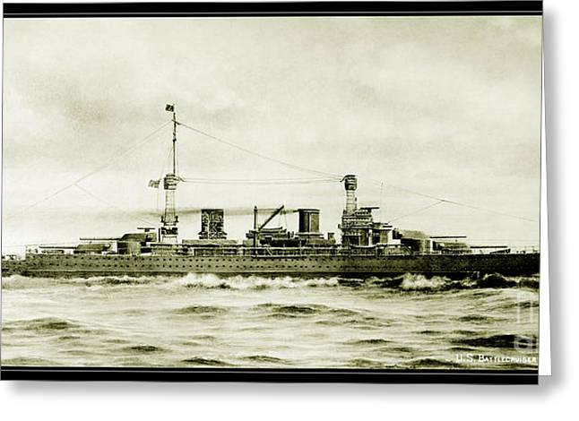 Wwi Paintings Greeting Cards - Lexington Class Battle Cruiser Greeting Card by Jon Neidert