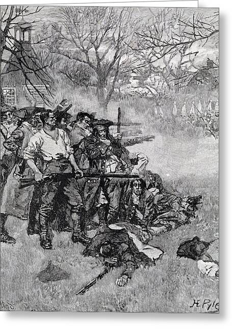 Brandywine Greeting Cards - Lexington Green - If They Want War, It May As Well Begin Here, Engraved By F.h. Wellington Greeting Card by Howard Pyle
