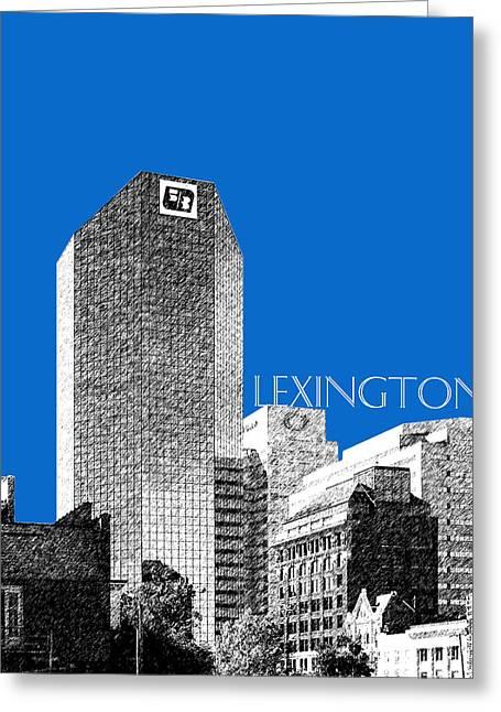 Lexington Greeting Cards - Lexington Skyline - Blue Greeting Card by DB Artist