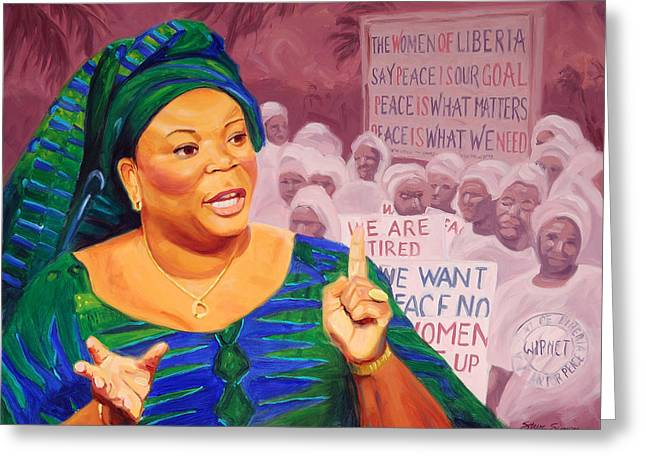 Nobel Peace Prize Greeting Cards - Leymah Gbowee Greeting Card by Steve Simon