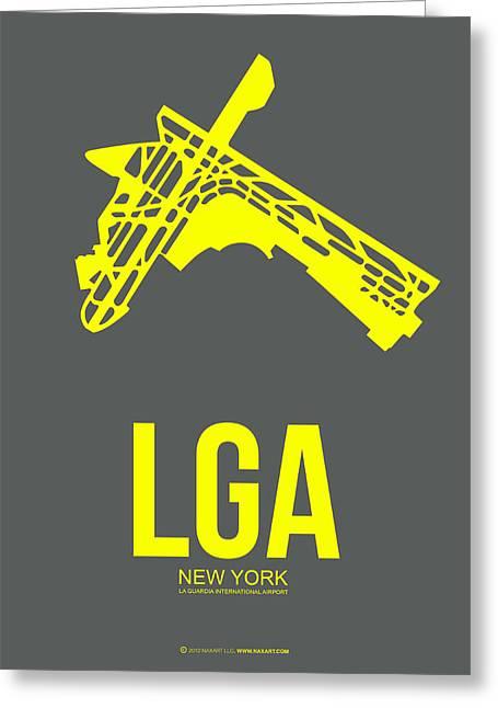 Times Square Mixed Media Greeting Cards - LGA New York Airport 1 Greeting Card by Naxart Studio