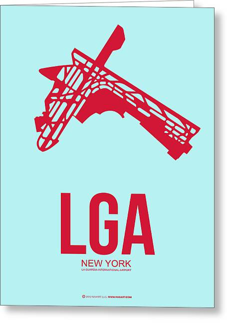Times Square Mixed Media Greeting Cards - LGA New York Airport 2 Greeting Card by Naxart Studio