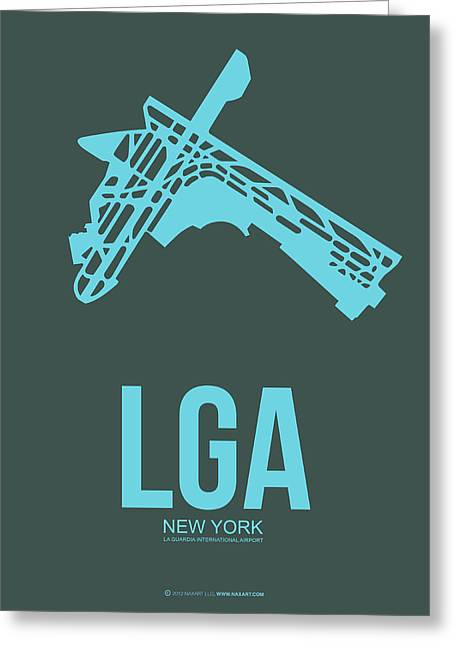 Tourists Greeting Cards - LGA New York Airport 3 Greeting Card by Naxart Studio