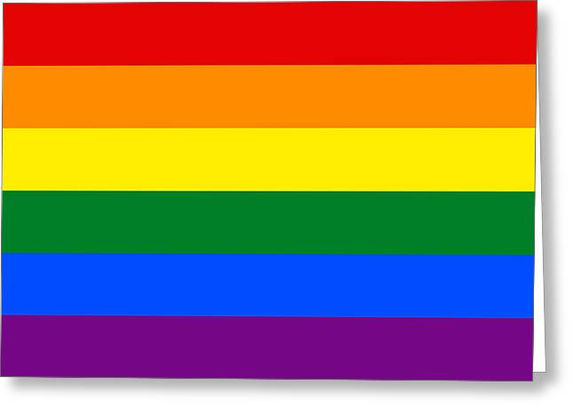 Gay Relationship Greeting Cards - LGBT Gay Pride Rainbow Flag  Greeting Card by World Flag Prints