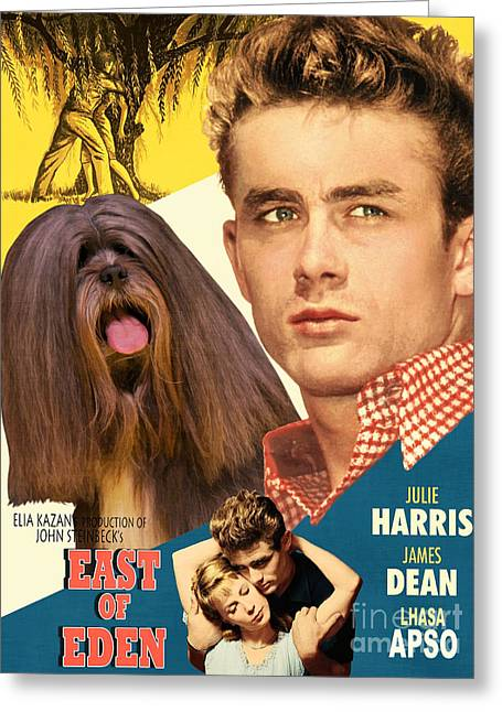 Dog Prints Greeting Cards - Lhasa Apso Art - East Of Eden Movie Poster Greeting Card by Sandra Sij