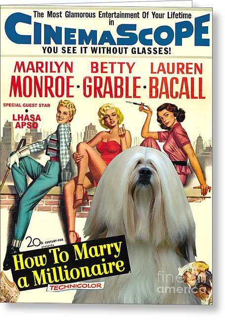 How To Marry A Millionaire Greeting Cards - Lhasa Apso Art - How To Marry a Millionaire Movie Poster Greeting Card by Sandra Sij