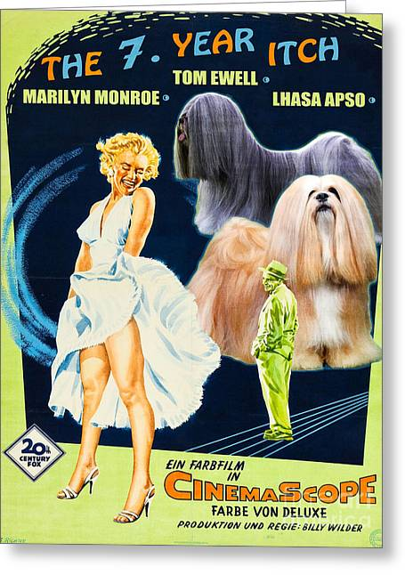 Seven Year Itch Greeting Cards - Lhasa Apso Art - The Seven Year Itch Movie Poster Greeting Card by Sandra Sij