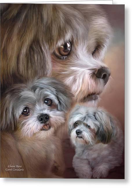 Canine Mixed Media Greeting Cards - Lhasa Apso Greeting Card by Carol Cavalaris