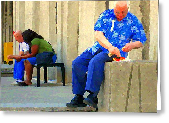 Urbam Greeting Cards - Lhomme Orange Quiet Corner On St Catherine Street Downtown Montreal City Scene Carole Spandau Greeting Card by Carole Spandau