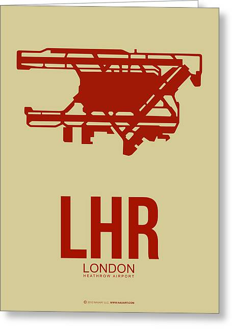 European Cities Greeting Cards - LHR London Airport Poster 1 Greeting Card by Naxart Studio