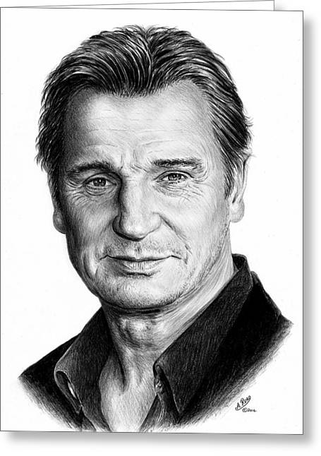 Suave Greeting Cards - Liam Neeson Greeting Card by Andrew Read
