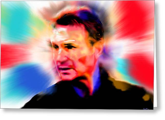 Liam Neeson Greeting Card by Marcello Cicchini