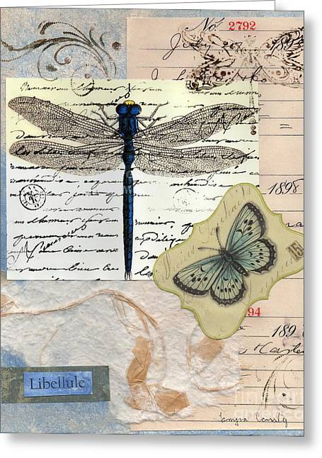 Nature Study Mixed Media Greeting Cards - Libellule Greeting Card by Tamyra Crossley