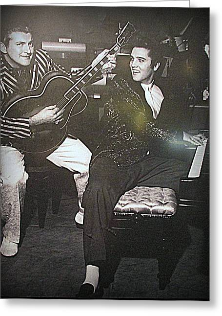 Liberace Greeting Cards - Liberace And Elvis Greeting Card by Kay Novy