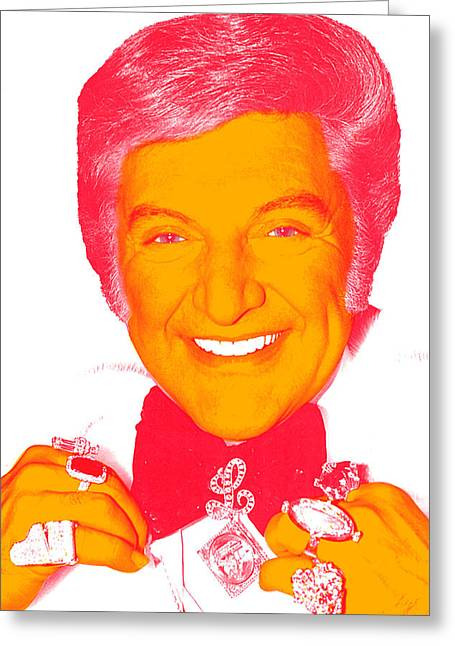 Liberace Greeting Cards - Liberace Pop Art Portrait Greeting Card by Ken Surman