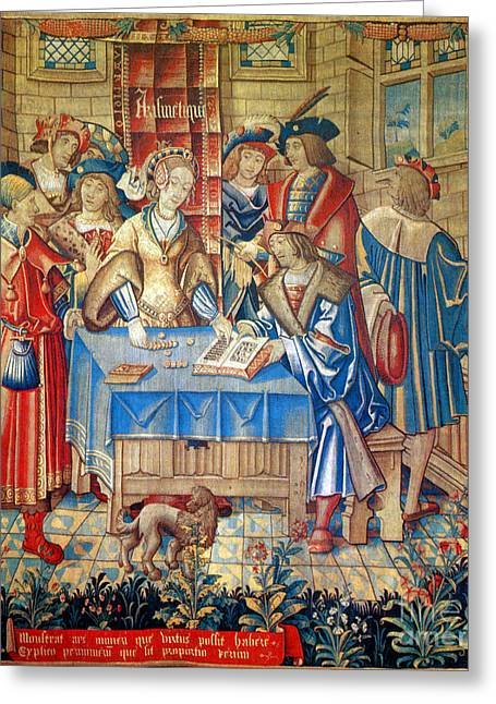 Medieval Tapestries Greeting Cards - Liberal Arts, The Arithmetic, 16th Greeting Card by Science Source