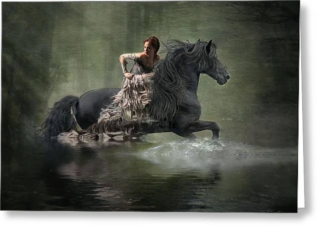 Girl In Water Greeting Cards - Liberated Greeting Card by Fran J Scott