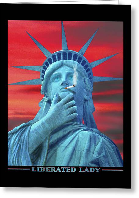 Statue Of Liberty Digital Art Greeting Cards - Liberated Lady Greeting Card by Mike McGlothlen