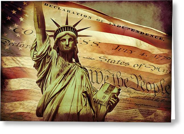 Red White And Blue Digital Greeting Cards - Declaration Of Independence Greeting Card by Az Jackson