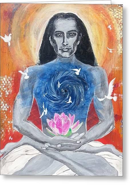 Recently Sold -  - Liberation Greeting Cards - Liberation - Mahavatar Babaji Greeting Card by Vidya Vivek