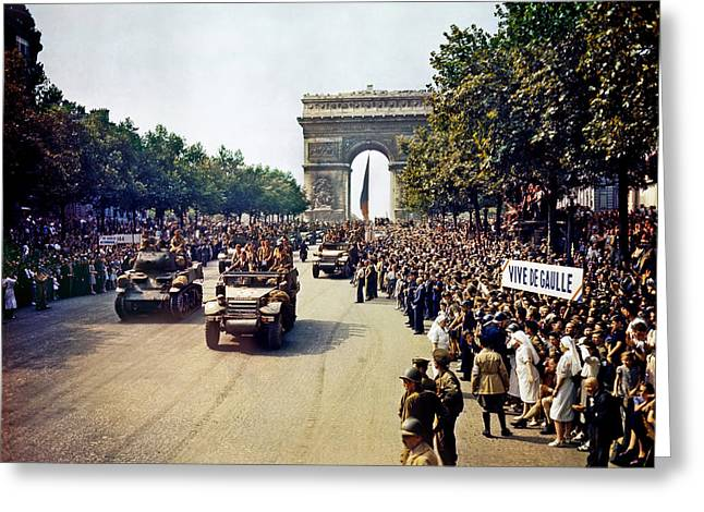 Liberation Greeting Cards - Liberation of Paris in 1944 Greeting Card by Mountain Dreams