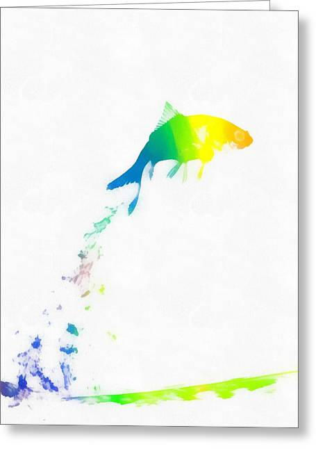 Liberation Mixed Media Greeting Cards - Liberation Watercolor Fish Greeting Card by Dan Sproul
