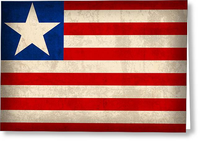 Liberia Flag Vintage Distressed Finish Greeting Card by Design Turnpike