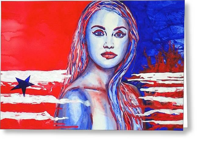 Liberty American Girl Greeting Card by Anna Ruzsan