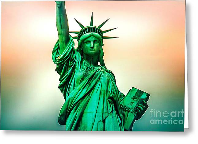 Tourists Greeting Cards - Liberty And Beyond Greeting Card by Az Jackson