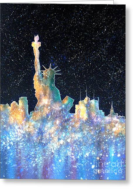 Starry Digital Art Greeting Cards - Liberty And New York Cosmos Greeting Card by Bill Holkham