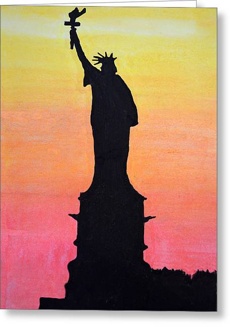 Times Square Pastels Greeting Cards - Liberty at sunset Greeting Card by David Ziegler