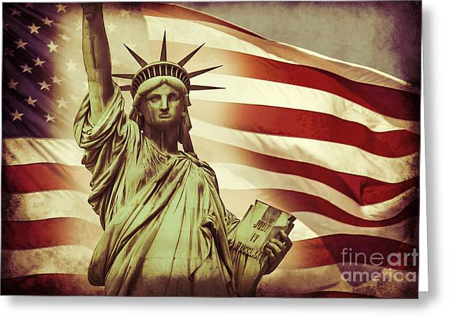 The White Stripes Greeting Cards - Liberty Greeting Card by Az Jackson