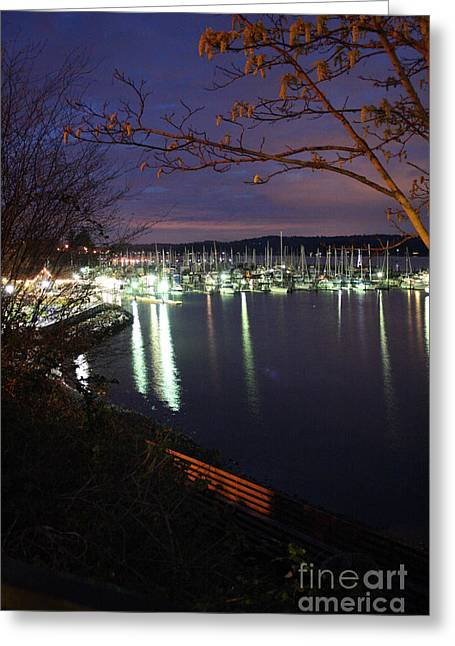 Liberty Bay At Night Greeting Card by Vicki Maheu