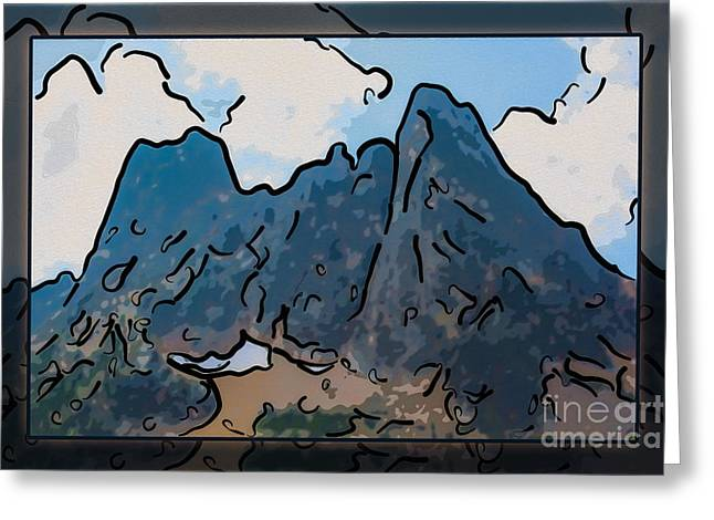 Methow Greeting Cards - Liberty Bell Mountain Abstract Landscape Painting Greeting Card by Omaste Witkowski