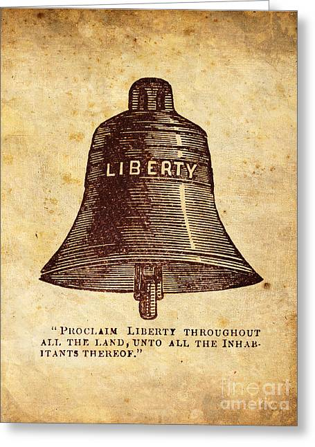 Liberty Greeting Cards - Liberty Bell Proclaim Greeting Card by God and Country Prints