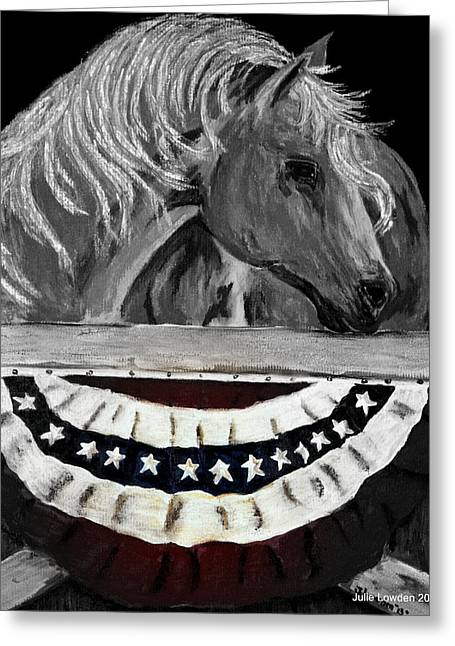 Military Pastels Greeting Cards - Liberty Black and White Greeting Card by Julie Lowden