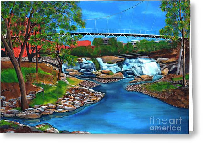 Liberty Bridge at Falls Park Greeting Card by Andrew Wells