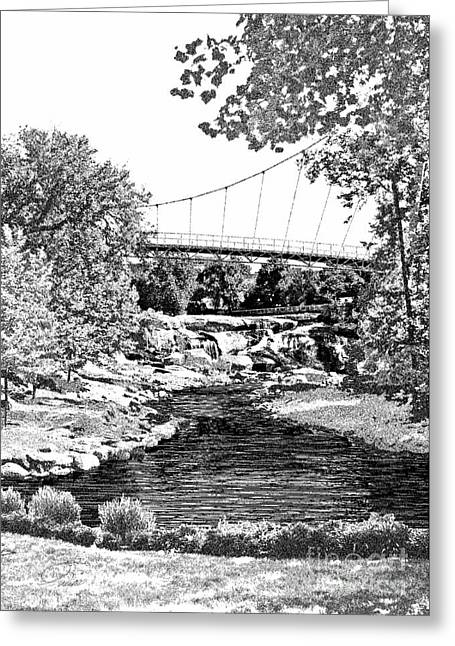 Rivers In The Fall Mixed Media Greeting Cards - LIBERTY BRIDGE AT FALLS PARK - Architectural Rendering DETAIL Greeting Card by Andrew Wells