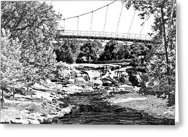 LIBERTY BRIDGE AT FALLS PARK - Architectural Rendering DETAIL Greeting Card by Andrew Wells