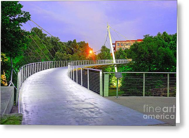 Liberty Bridge In Downtown Greenville Sc At Sunrise Greeting Card by Willie Harper