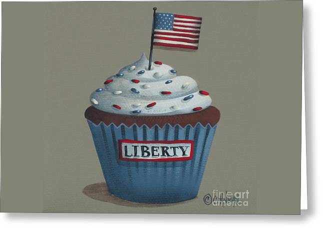 American Food Paintings Greeting Cards - Liberty Cupcake Greeting Card by Catherine Holman