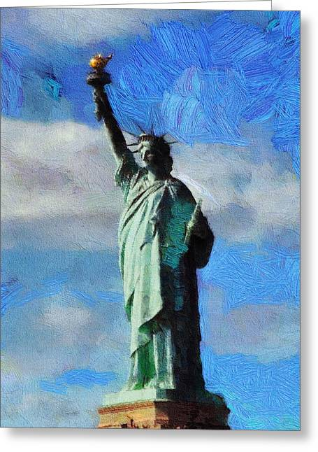 Statue Of Liberty Mixed Media Greeting Cards - Liberty Greeting Card by Dan Sproul
