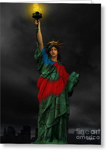 Goddess Of Liberty Greeting Cards - Liberty Greeting Card by Creative Sunny