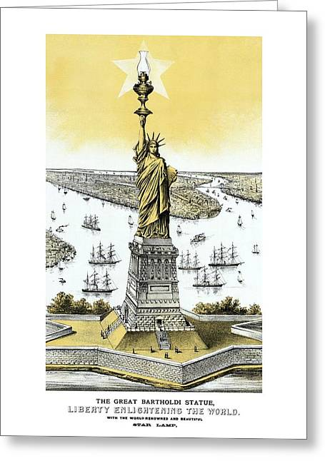 Historic Architecture Mixed Media Greeting Cards - Liberty Enlightening The World  Greeting Card by War Is Hell Store